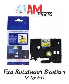 Fita Compativel Rotulador Brother Amarela 12mm Tz Tze 631