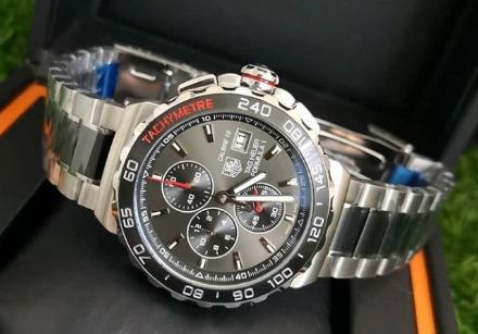 Relógio Masculino Tag F1 De Aço Mostrador Preto