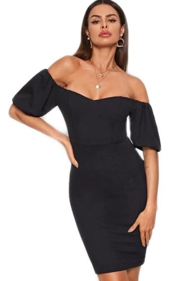 Oferta Vestido Corto Negro Elegante Formal Escote Corazón
