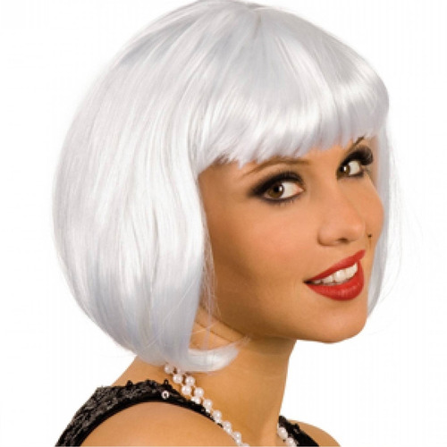 ¡ Peluca Corta Blanco D Fantasía Para Fiestas & Halloween !!