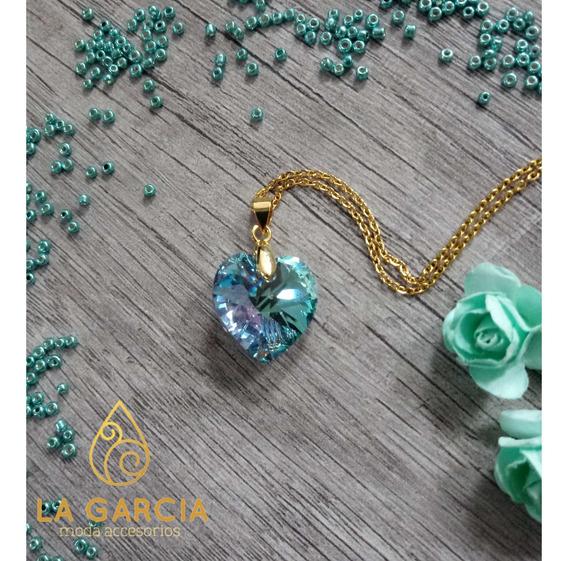 Dije Corazon Cristal- Cadena Chapa 14k