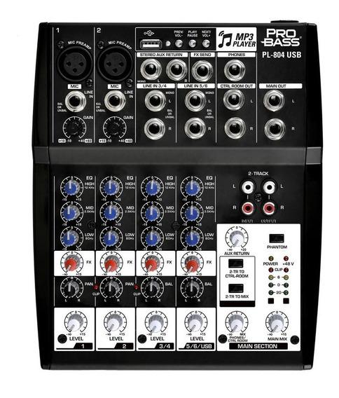 Mixer Mesa De Som 6 Canais Pro Bass Pl-804 Usb Igreja Evento