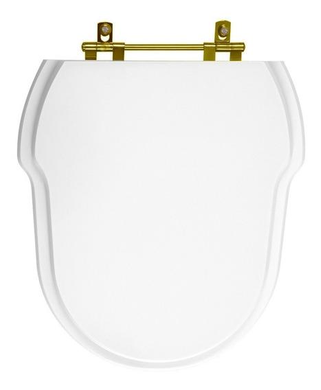 Assento Sanitário Poliéster Hampton Branco Com Ferragem Dourada Para Louça Incepa