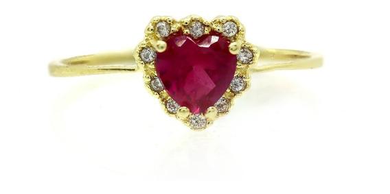 Anel Coração Espinélio Rubi Diamantes Ouro 18k 750 J22716
