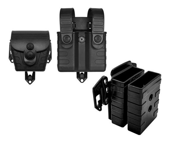 Porta Carregador Fuzil Pistola E Algema Modular Em Polímero