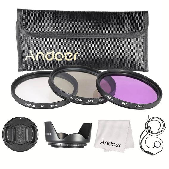 Andoer Estojo Filtro De 55mm ( Uv + Cpl + Fld ) + Malote Tra