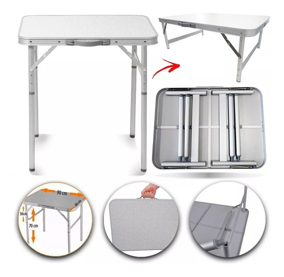 Kit 2 Mesas Dobráveis Alumínio 90x60 Cm Vira Maleta Palisad