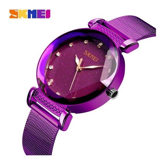 Relógio Feminino Céu Estrelado Brilhante Skmei 9188 Roxo