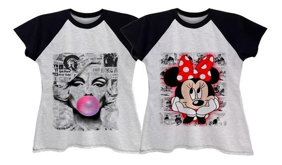 Kit 2 Camisetas Blusa Raglan Feminina Plus Size Até G6