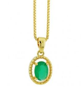 Colar Banhado Ouro 18k Cristal Esmeralda Dourado Sku 10050