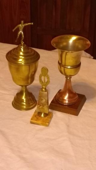 Lote Trofeos Bronce Cobre Mármol Colección Decoración