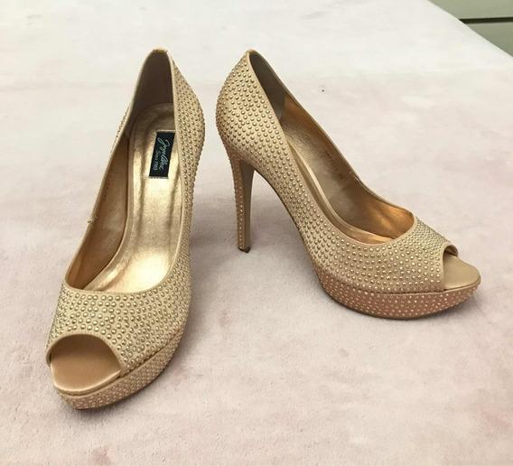 Sapato Scarpan Scarpin Dourado Peep Tue Meia Pata