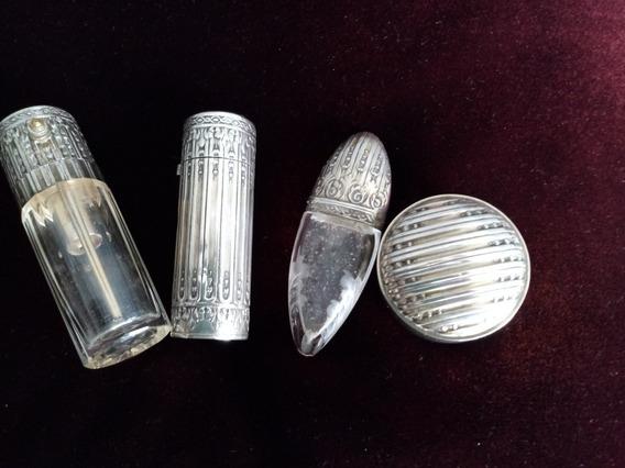 Antiguo Perfumero X 3 Y Pastillero De Cartera