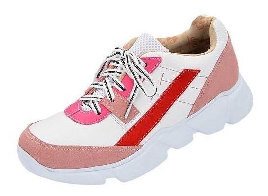 Tênis Ugly Sneaker Anos 90 Couro Legítimo Branco/rosa