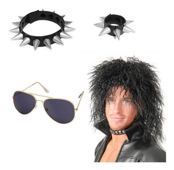 Disfraz Rockero Peluca Pelo Accesorios Halloween Fiesta