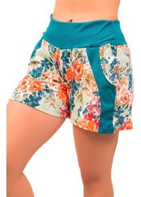 Short Feminino Cintura Alta Estampado Confortável Hot Pants