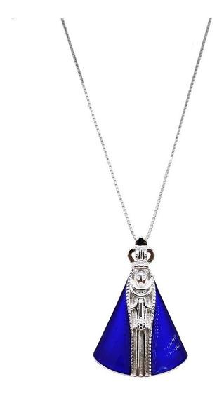 Colar Pingente Nossa Senhora Manto Lápis Azuli Prata 925