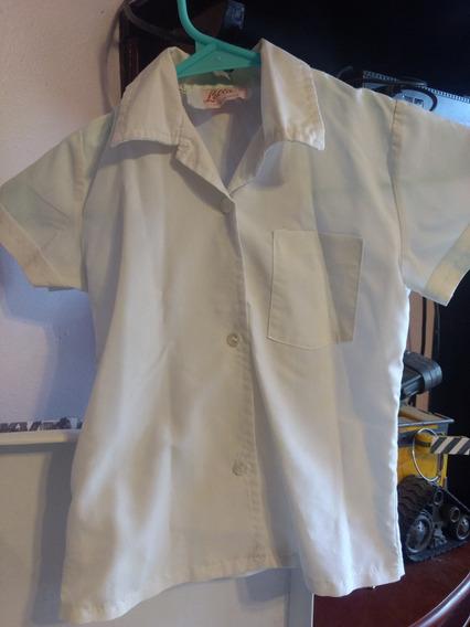 Blusa Blanca Escolar *usada* Niña Talla 4 Y 6
