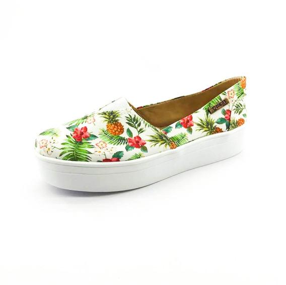 Tênis Flatform Quality Shoes Feminino 003 Abacaxi Branco