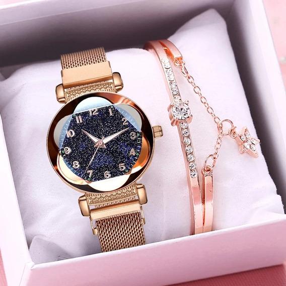 Relógio Feminino Céu Estrelado + Bracelete