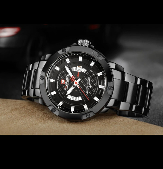 Relógio Masculino Naviforce Pulseira Aço Inox