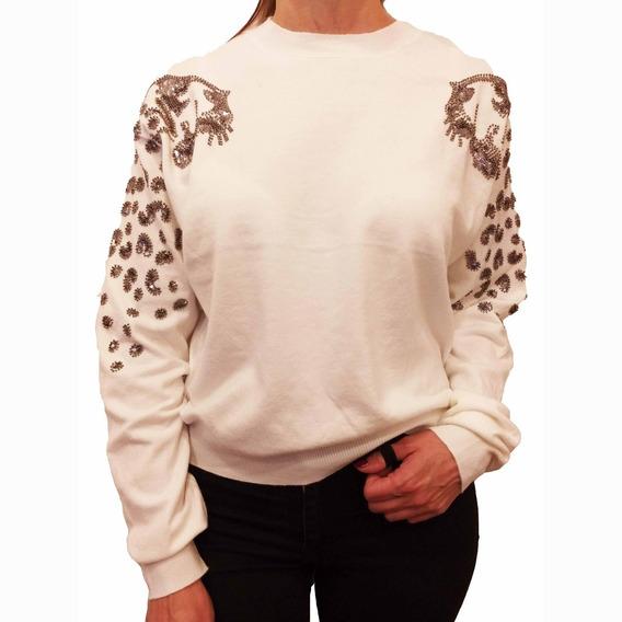 Sweater Mujer Brillos Importado Bordado Tigre Bremer Pulover