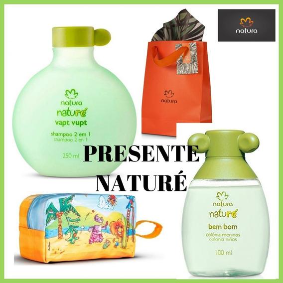 Presente Natura Naturé - Colônia Bem Bom Meninos + Shampoo Vapt Vupt + Necessaire Naturé + Sacola Presente Natura
