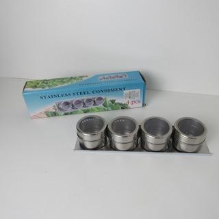 Porta Condimentos Magnético 4 Potes C/ Imã Em Inox