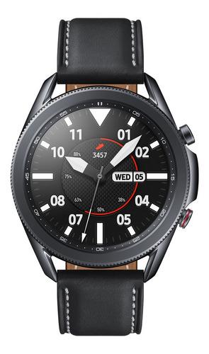 """Samsung Galaxy Watch3 (Bluetooth) 1.4"""" caja 45mm de  acero inoxidable  mystic black malla  mystic black de  cuero y bisel  mystic black SM-R840"""