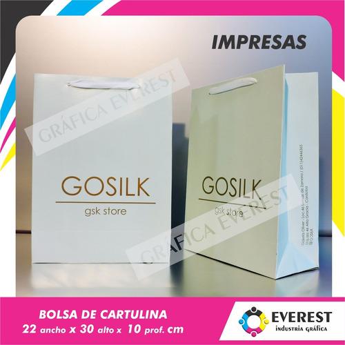 Bolsas De Cartulina 22x30x10 X 250u Impresas Offset 1 Color