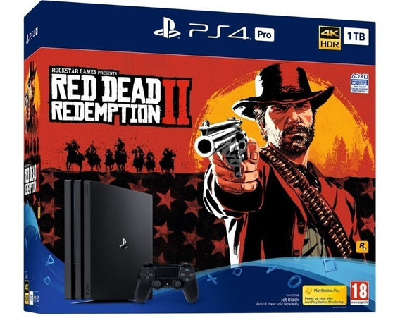 Console Playstation 4 Ps4 Pro 1tb 4k Hdr Bundle Red Dead Redemption 2