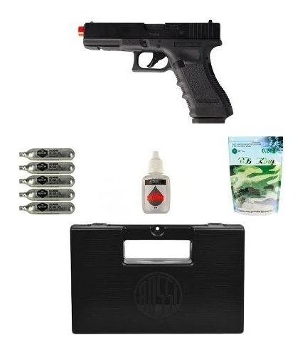 Pistola Airsoft Co2 Glock G17 Blowback + Acessórios + Maleta