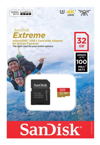 Cartão Memória 32gb Sandisk Extreme Microsdhc 100mbs