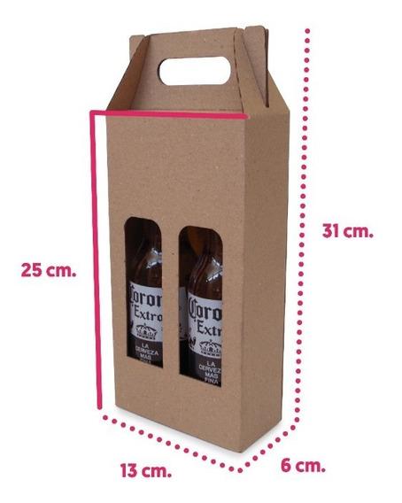 30 Caja Portabotellas 2 Cavs Cerveza Cartón Kraft