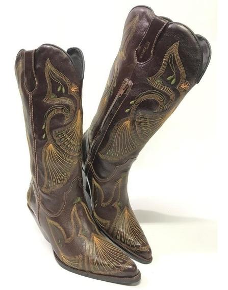 Bota Texana Country Feminina Vimar Bico Fino E Salto Bordada