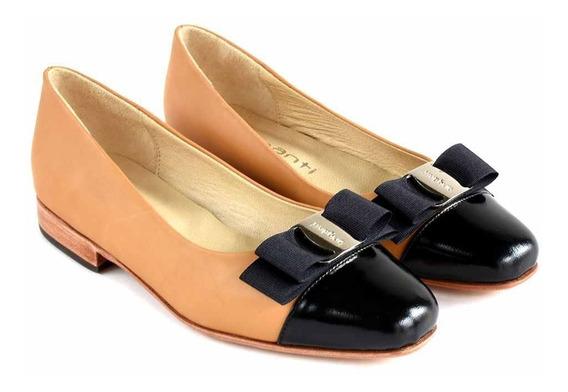 Zapato Mujer Cuero Chatita Mocasin Briganti Vestir Mccha2989