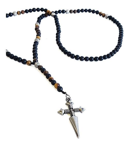 Terço Colar Masculino Pedras Ônix Matte Amuleto Crucifixo