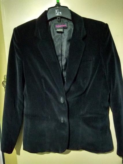 Blazer Negro Saco Mujer De Pana Importado Talle M