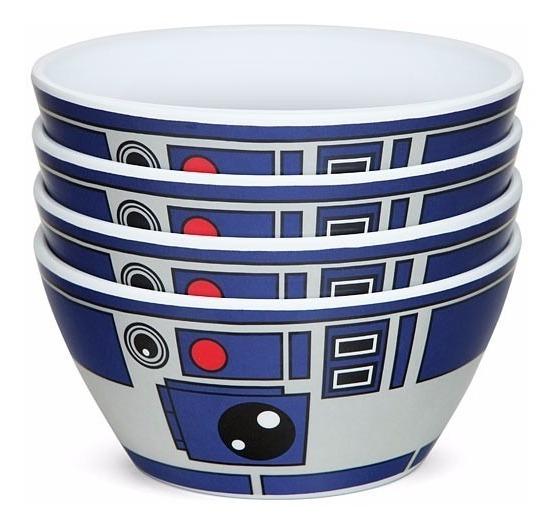 Star Wars Plato Hondo Droide R2-d2 Set 4 Tazones Nuevos