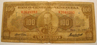Billete De 100 Bs 1960 K7 Medallón