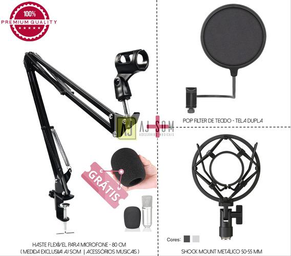 Kit Pedestal Articulado,haste Flex Mic+pop Filter+shockmount