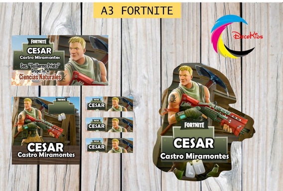 Etiquetas Escolares Fortnite Editables