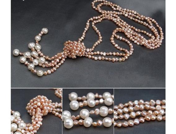 Collar De Perlas Naturales Cultivadas Doble Hilo Largo 90cm