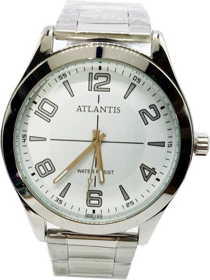 Relógio Atlantis Masculino Prateado G3506