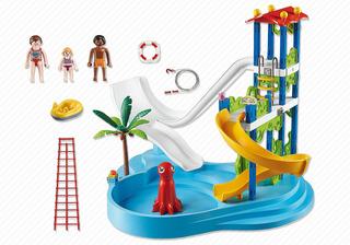 Parque Acuático Con Toboganes Playmobil