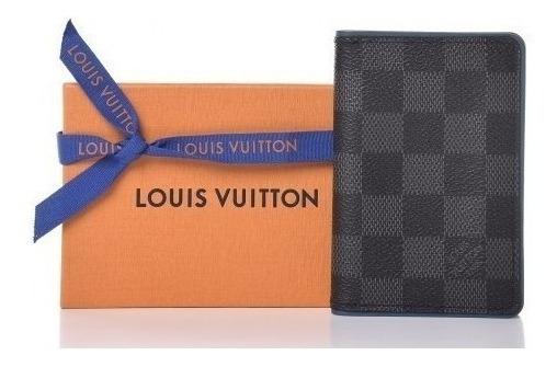Porta Cartões Louis Vuitton Organizer Damier Graphite Premium Top Couro Legítimo Com Código Série Dust Bag E Caixa 24 Hr