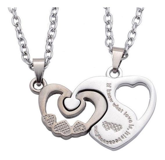 Set Collar Dije Novios Corazon Love Amor Pareja E-830