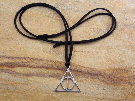 Colar Masculino De Couro Harry Potter Reliquias Da Morte