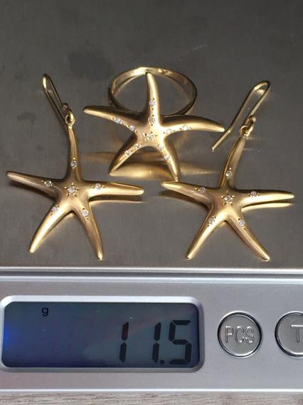 Brincos E Pingente Em Ouro 18 K 750-11.5 Gramas, 29mm