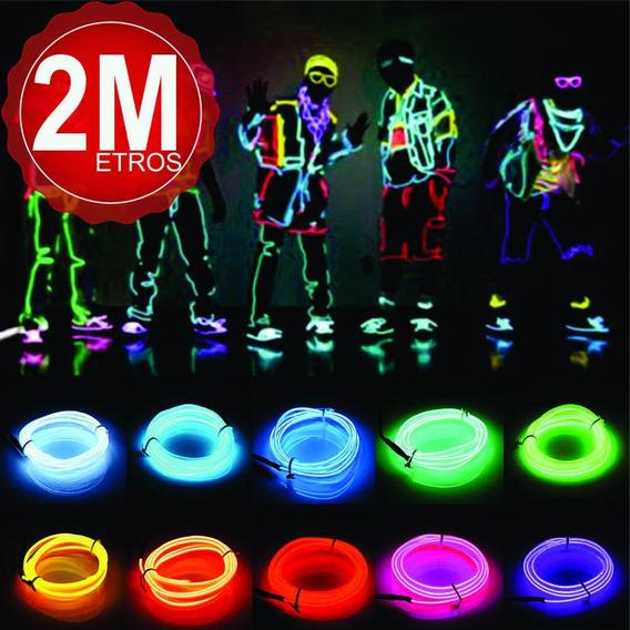 Fio Luz Neon Led A Pilha 2 Metros C/controle El Wire 3v